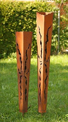 Rostsäulen Rost Fackel zwei Gartenfackeln 100cm+ 125cm Laternen