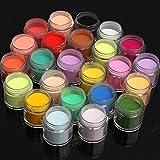 Bluelover 24 couleurs acrylique manucure nail art poudre décoration poussière