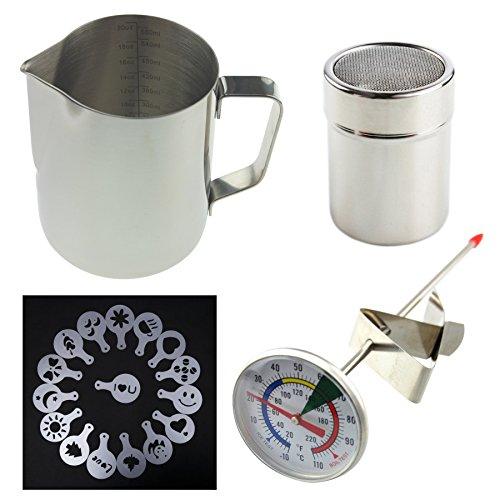 Barista Kit Includes Milk Thermometer, 600ml Jug, Cocoa Shaker and 16pc Stencil Set - Ideal For Coffee Latte Cappuccino Mocha - Barista Kit