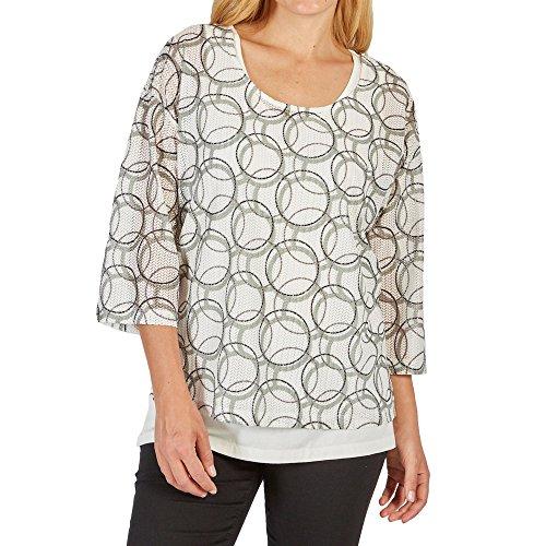 SAMOON 172219 29142 Damen '2 in 1'-Shirt das Top in Ecru ist separat tragbar, Groesse 52, Ecru/Khaki/Gemustert