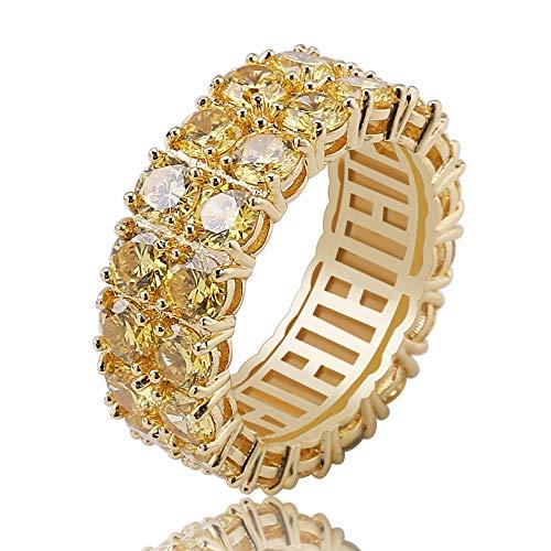 BHTKJ Herren Hip-Hop-Ring 2 Reihen 14 K Gold versilbert Iced Out CZ Labor Hochzeit Verlobungsring (Gold, V 1/2) (Ring Cz Herren Gold)