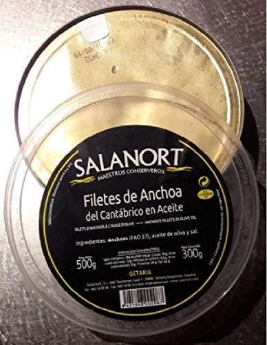 Filetti di acciughe del Mar Cantabrico Pescate in PRIMAVERA, olio di oliva latta 500gr - Salanort La Primavera è la miglior pesca di pesci grandi e carnosi, salatura delicata di 3g per 100g di pesce