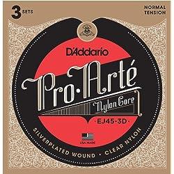 D'Addario EJ45-3D - Juego de Cuerdas para Guitarra Clásica de Nylon con Entorchado de Plata.028 - .043, Transparente
