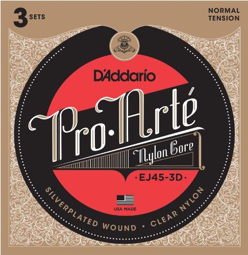 D'Addario EJ45-3D versilberte Nylon Saiten für Konzertgitarre .028 - .043 Normal (3er Pack) Sparpack