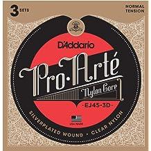 D'Addario EJ45-3D - Juego de cuerdas para guitarra clásica de nylon con entorchado de plata, .028 - .043