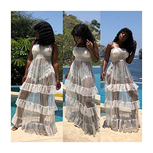 L Women Mesh Party Long Club Sheer Ruffled Prom Dress White Strap Spaghetti Patchwork Jc3lKTF1