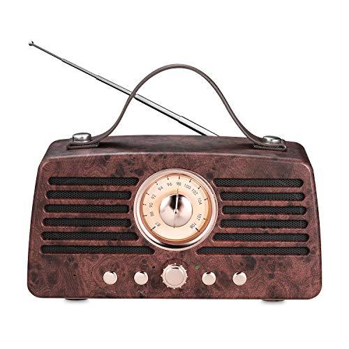 Haut-Parleur Bluetooth rétro, Enceinte sans Fil Portable Aurtec Bluetooth 4.2 avec Radio FM, Enceinte Stéréo pour Extérieur Audio avec Son Puissant et Caisson de Basses, Brun