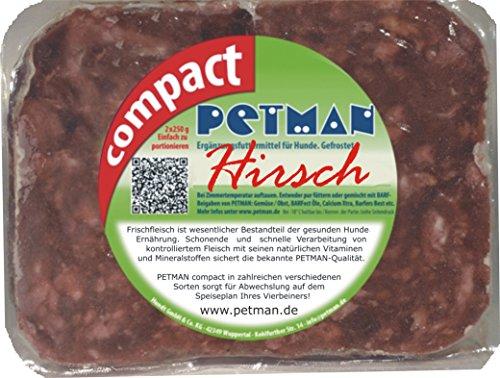Petman compact Hirsch, 12 x 500g-Beutel, Tiefkühlfutter, gesunde, natürliche Ernährung für Hunde, Hundefutter, BARF, B.A.R.F.