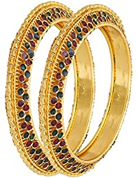 The Luxor Gold Plated Designer Meenakari Studded Daily Wear Bangles Set