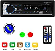 Tenlso Car MP3 Player, Car Stereo Radio Receiver Multimedia Single Din LCD, BT Audio Calling, Built-in Microph