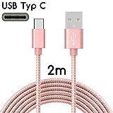 TheSmartGuard | USB-C Kabel auf USB 2.0 | Nylon Ladekabel mit USB-Typ-C-Anschluss | Länge: 2 Meter / 2m | Farbe: Rose-Gold