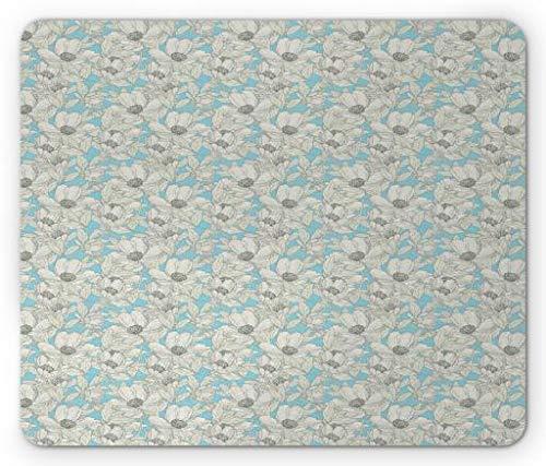 Drempad Gaming Mauspads, Peonies Mouse Pad, Classic Meadow Flowers Retro Feminine Style Flourishing Yard Pattern, Standard Size Rectangle Non-Slip Rubber Mousepad, Eggshell Pale Azure Blue -
