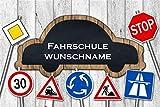 ' Fahrschule (Wunschname) ' - Fussmatte bedruckt Türmatte Innenmatte Schmutzmatte lustige Motivfussmatte