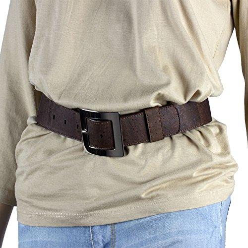 Corkor Damen Gürtel Ratsche Gürtel für Männer 40mm Breit Vegan aus Veganer Braun korkleder - 3