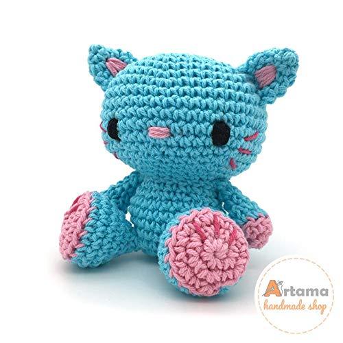 Kitty Blue - Amigurumi - Gefüllte Puppe - Gehäkelte - Handgefertigt - Embroidered eyes - Artama
