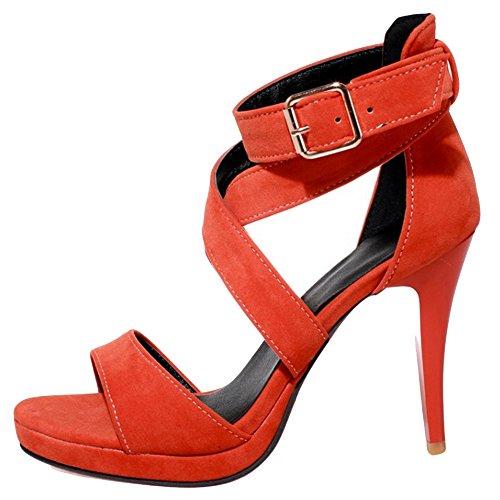 COOLCEPT Damen Mode Knochelriemchen Sandalen Stiletto Sommerschuhe Open Toe  Orange