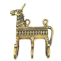 IndianShelf 4 Piece Handmade Handcrafted Artistic Bronze Brass Cow Hangers Holders Hooks Wall Coats Towels Keys Clothes Hats Bathroom Kitchen Mounted Vintage Utility Classic Solid