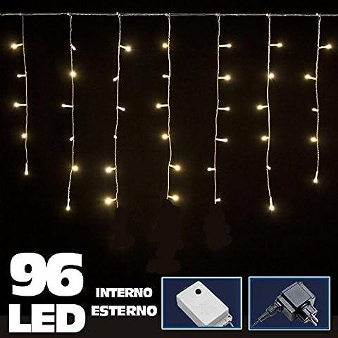 Bakaji Lighting Tenda Luminosa Natalizia 96 LED Luce Bianco Caldo 3 METRI lineari per uso Interno ed Esterno Luci Cavo 5 mt