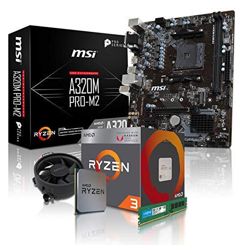 PC Aufrüstkit AMD, 3-2200G 4x3.5 GHz, 8GB DDR4, AMD Vega 8-2GB, Mainboard Bundle, Tuning Kit, fertig montiert, Spiele Office 8 Gb Bundle Kit