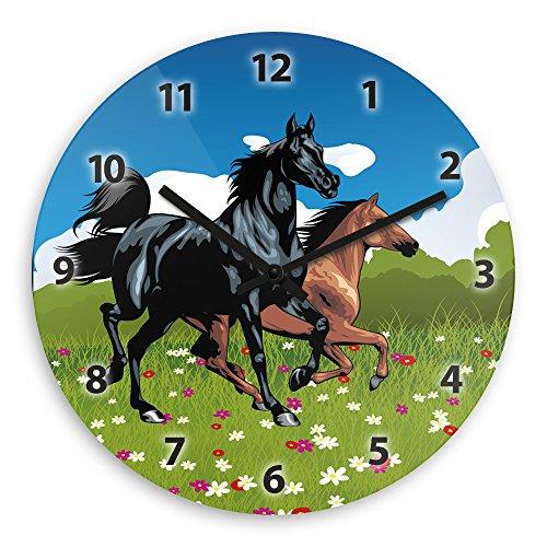 Wanduhr mit Pferde-Motiv für Kinder   Kinderzimmer-Uhr   Kinder-Uhr