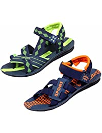 Indistar Men's KRS Casual Sandal And Floaters Office Sandal-Green/Blue/Green/Blue- Pack Of 2 Pairs