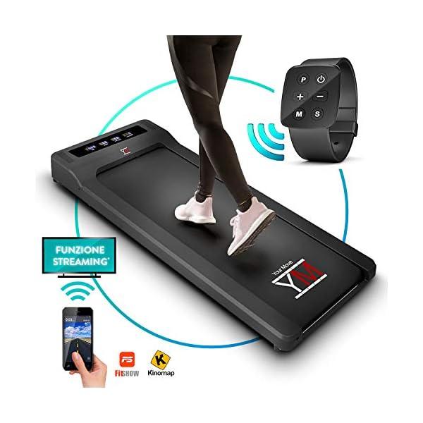 YM Tapis Roulant Elettrico Walking Pad Scrivania App KINOMAP e FITSHOW, Orologio Telecomando Watch Controller… 1 spesavip