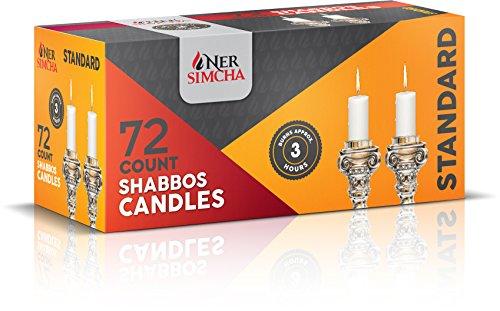 (Ner Simcha Tropffreie Taper Kerzen Hoch Sabbat, Hochzeit, Home & Urlaub Dekoration, Abendessen Kerzen Set von 72Stunde Weiß Sabbat Kerzen 3 Hour Candles Taper Candles)
