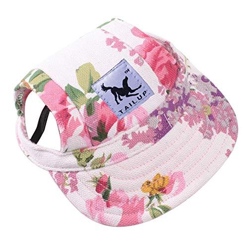 Yooger Haustier Baseballcap, Sommer Hut für Katzen & Hunde Outdoor Sonnenhut Prinzessin Hat Cap Floral Canvas Weihnachten Geschenk (S, Blume) -