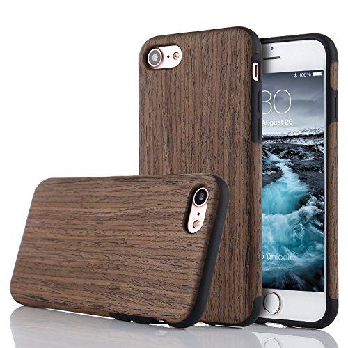 LCHULLE iPhone 5/5S/SE Hülle, Premium Handmade [Echtes Holz Rücken Flexibel] TPU Silikon Ultra Slim Back Schutzhülle-Schwarz Rose Holz Farbe