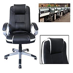 51iOK4vaJpL. SS300  - HG-silla-giratoria-de-oficina-silla-de-juego-confort-superior-reposabrazos-tapizados-silla-de-carrera-capacidad-de-carga-200-kg-altura-ajustable-negro-blanco