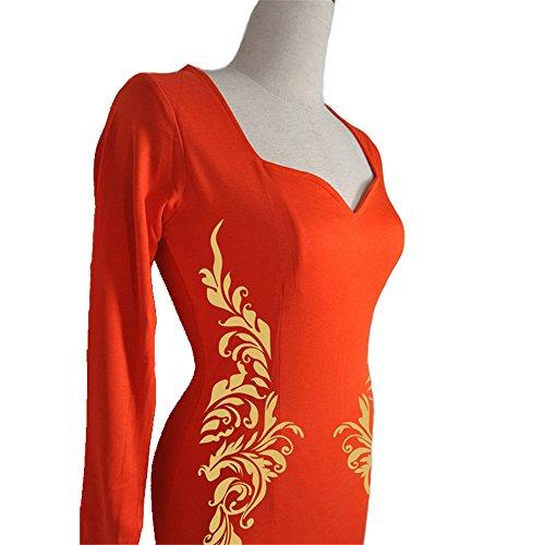 JOTHIN Damen Druck Bodycon Kleid V-ausschnitt Festkleid Etuikleider Bleistiftkleid Partykleid Knielang Orange