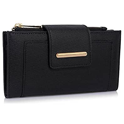 Wallet For Women Ladies Large Purses Fashion Leather Designer New With Tags Long, Black
