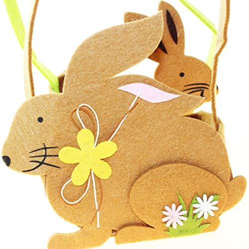 Kamaca 2 er Set Liebevoll gestaltete Osterkörbe mit Henkel Osternester Körbe aus Filz mit Hasen Motiv Osterkorb Ostern (2er Set Hasen Filztasche)