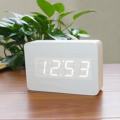 XIASDL Madera reloj LED retro reloj despertador electrónico creativo precioso reloj nemesis tranquilo y relajado, luminoso europeo blanco de madera blanca