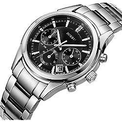 BUREI Herren Armbanduhr Chronograph mit schwarzem Zifferblatt Datumsanzeige und Edelstahlband