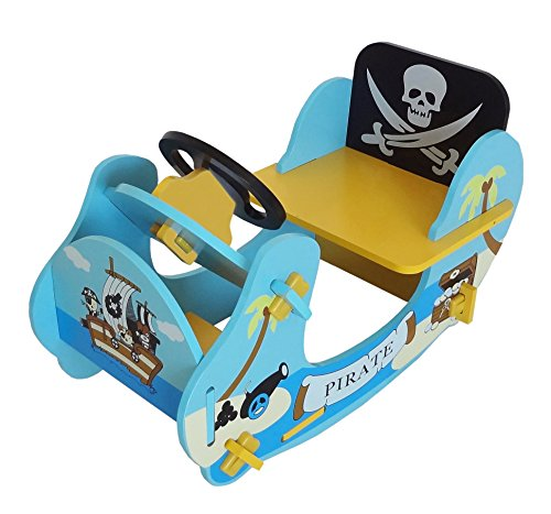 Bebe Style Children's Pirate Wooden Rocker Ride On Boat - Blue