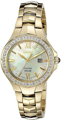 Seiko Damen Datum klassisch Solar Uhr mit Edelstahl Armband SUT242P9