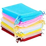 """HerFav Organza Bags Small Wedding Favour Bags Party Gift Bags, Pack of 60, 4.7""""x3.5"""", Small Jewellery Bags"""