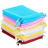 HerFav Organza Bags Party Gift Bags Small Jewellery Bags Small Wedding Favour Bags (Pack of 60)