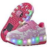 Aizeroth-UK LED Lumières Clignotant Couleur Changeant Chaussures de Multisports Outdoor à roulettes Sports Sneakers avec Rouleau de Garçon Et Fille (36 EU, A41Rose)