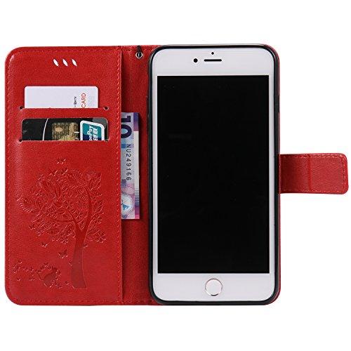 Apple iPhone 7 Plus 5.5 Custodia, Feeltech Sbalzato Albero Gatto Farfalla Modello Fiore Progettazione [Stylus Pen] Per il coperchio Apple iPhone 7 Plus 5.5 Case, Elegante Cuoio dellunità di Elaborazi Rosso