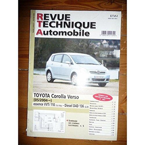 RTAB0705 - REVUE TECHNIQUE AUTOMOBILE TOYOTA COROLLA VERSO Essence VVT-i 110cv 1.6l 16V et Diesel D4-D 2.2l 136cv à partir de 05/2004