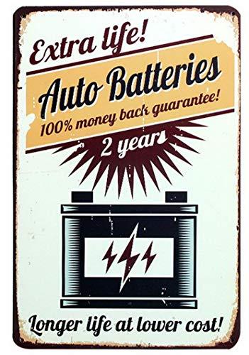 ABLERTRADE Tablrade Metallschild mit Auto-Akkus, Vintage-Stil, für Kaffeehäuser oder Zuhause, 20,3 x 30,5 cm