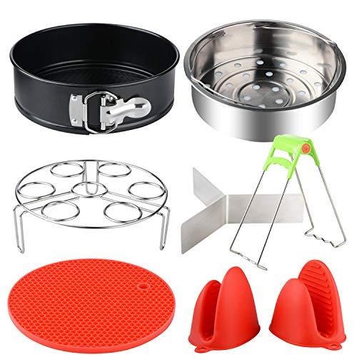 Warooma Schnellkochtopf-Zubehör-Set für 5,6,8 QT Instant Topf, inklusive Dampfgarer, Schüssel-Clip, Springform, Eierregal, Silikonmatte und Handschuhe, 8 Stück
