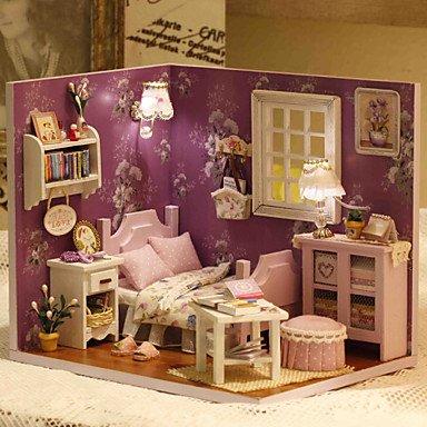 CLCJW Kreative Beleuchtung,Manuelle Montage-Akku-Packs mit Staubschutzabdeckung Spielzeug DIY Holz Puppenhaus beinhaltet alle Möbel Lampe LED Leuchten