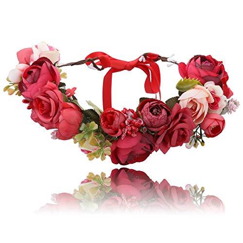 AWAYTR Blumen Stirnband Hochzeit Haarkranz Krone - Frauen Mädchen Blumenkranz Haare für Hochzeit Party, Rot + Dunkelrot + Rot Seidenschleife, Einheitsgröße