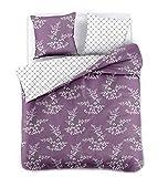 DecoKing Premium 91920 200x200 cm mit 2 Kissenbezügen 80x80 violett Blumenmuster Blumen Bettbezüge Microfaser lila Pflaume weiß Hypnosis Calluna Bettwäsche, 200 x 200 cm