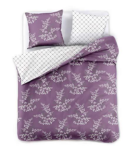 DecoKing Premium 91913 200x220 cm mit 2 Kissenbezügen 80x80 violett Blumenmuster Blumen Bettbezüge Microfaser lila Pflaume weiß Hypnosis Calluna Bettwäsche 200 x 220 cm