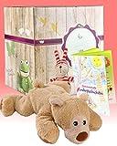 Warmies Geschenkset - Minis Bär liegend mit Lavendelduft Wärmekissen + Edle Geschenkverpackung + Büchlein mit spannenden Kindergeschichten