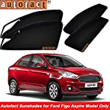 #2: Autofact Magnetic Window Sunshades/Curtains for Ford Figo Aspire [Set of 4pc - Front 2pc with Zipper ; Rear 2pc Without Zipper] (Black)